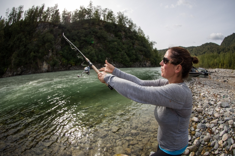 Molly fishing on the BLANK river. Photo by Kevan Dee.