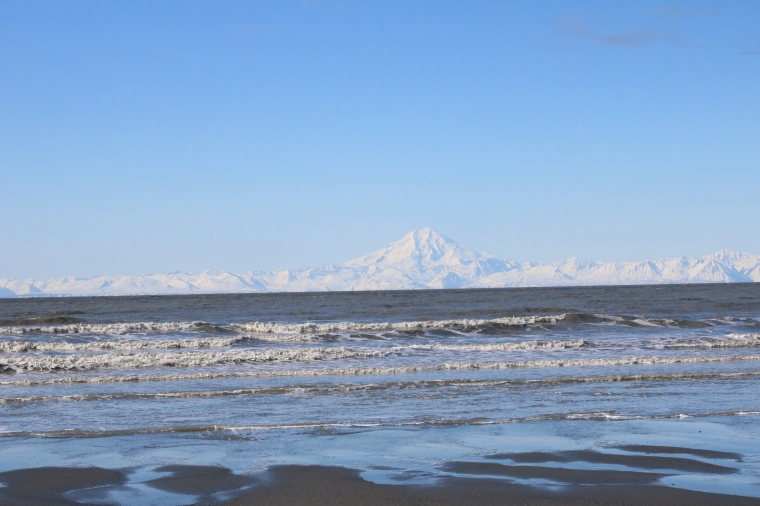 Mt. Redoubt from Clam Gulch Beach in Alaska. Photo by Kelly Ireland.