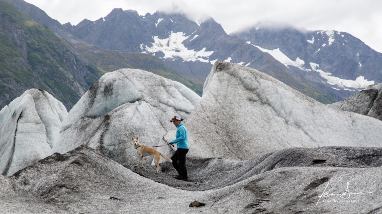 Molly and Tallie explore Spencer Glacier. Photo by Kevan Dee.