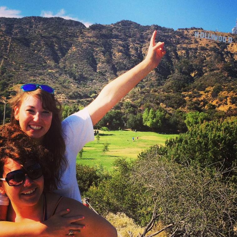 Kendyl and her sister below the Hollywood sign in California. Photo courtesy of Kendyl Murakami.