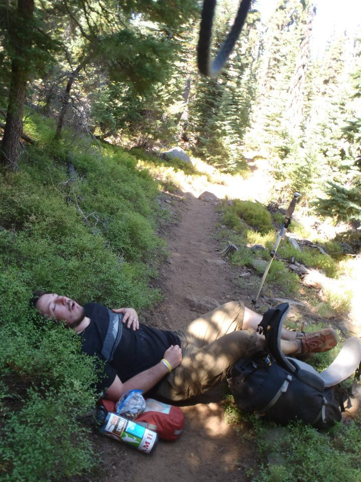 Molly's brother Matt takes a quick break on the Pacific Crest Trail. Photo courtesy of Molly Liston.