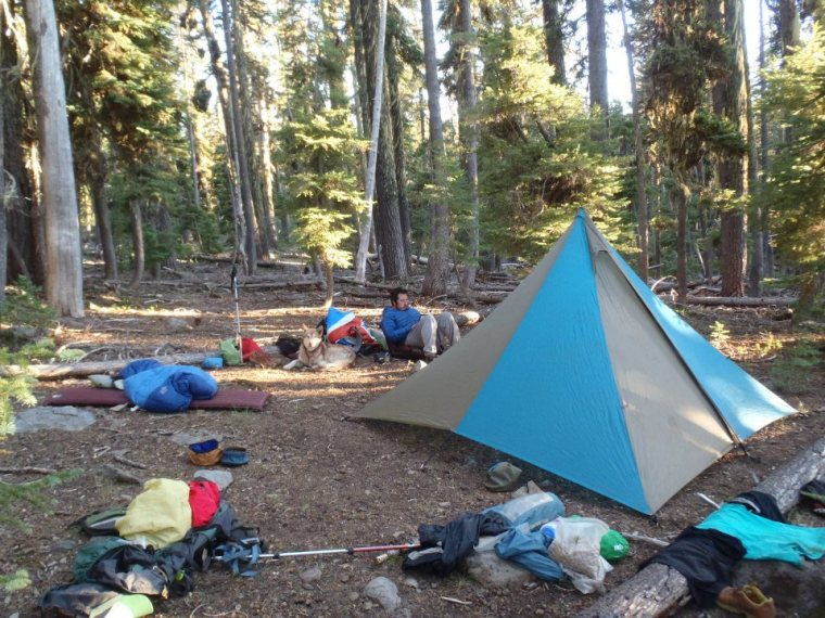 One of the last camps that Molly and Matt set up together in the first portion of Molly's journey on the Pacific Crest Trail. This camp was made on their seventh night of the trip near Red Lake Trail. Photo courtesy of Molly Liston.
