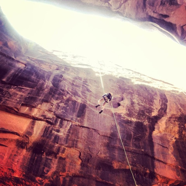 Monika canyoneering in Moab, Utah during her Spring Summit course from BYU Idaho. Photo courtesy of Monika Fleming.