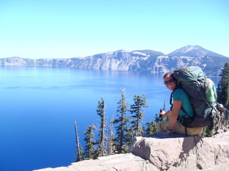 Molly Liston sits above Crater Lake on the Pacific Crest Trail. Photo courtesy of Molly Liston.