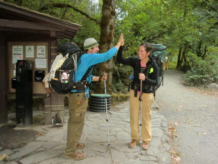 Molly and Matt celebrate their completion of Oregon portion of the Pacific Crest Trail. Photo courtesy of Molly Liston.