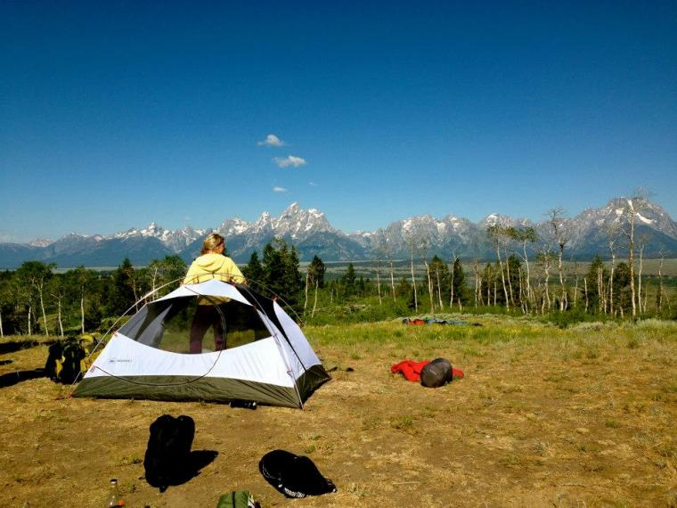 Grand Tetons camping on shadow mountain with jackson lake lodge employees