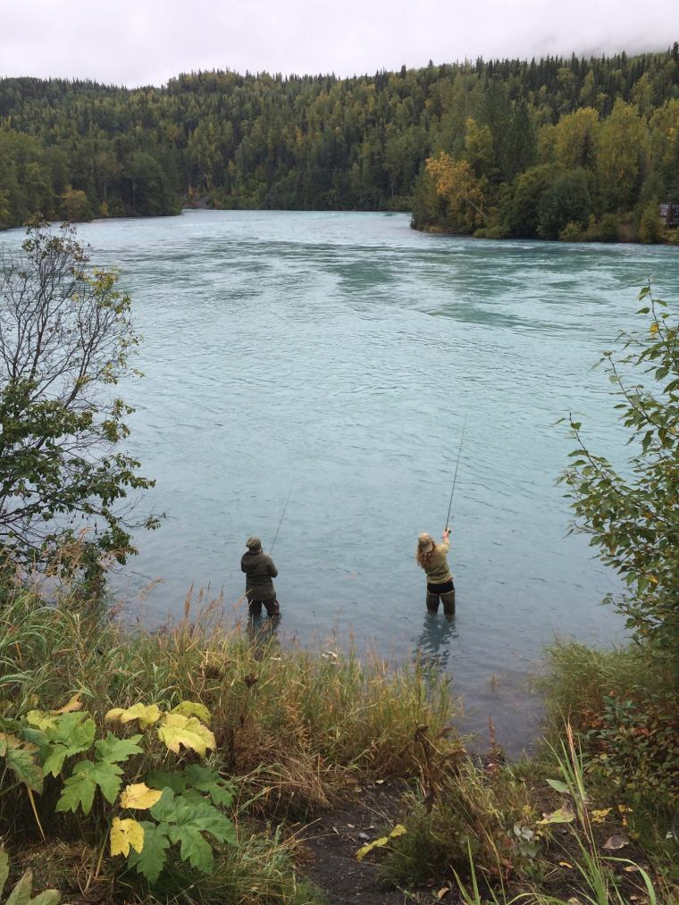 Katie Wasko and Monika fishing on the Kenai River in Alaska. Photo courtesy of Monika Fleming.