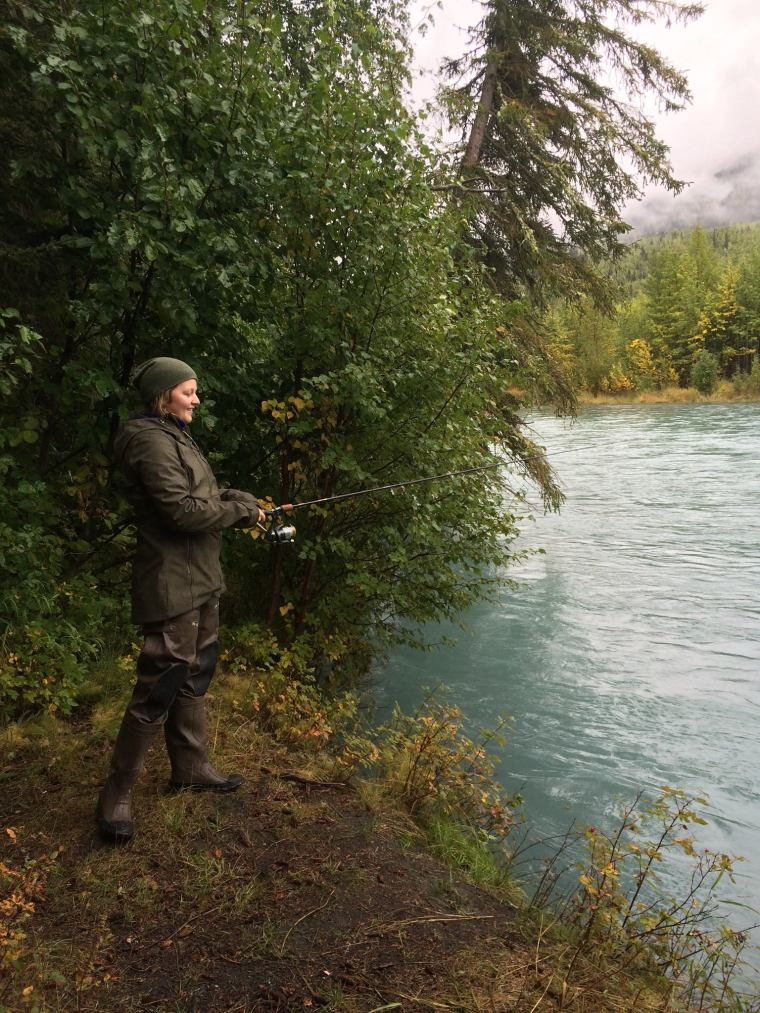 Monika fishing on the Kenai River on the Kenai Peninsula of Alaska. Photo courtesy of Monika Fleming.