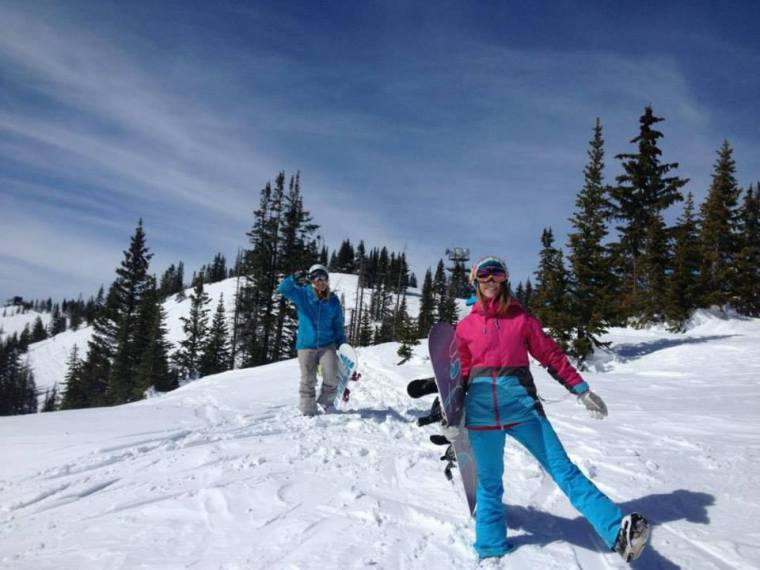 Monika and Liz Laderback doing some side country snowboarding at Steamboat Springs in Colorado. Photo courtesy of Monika Fleming.