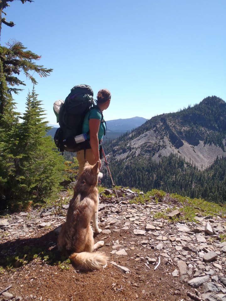 Molly and Scout overlook the Sky Lakes Wilderness on the Pacific Crest Trail. Photo courtesy of Molly Liston.