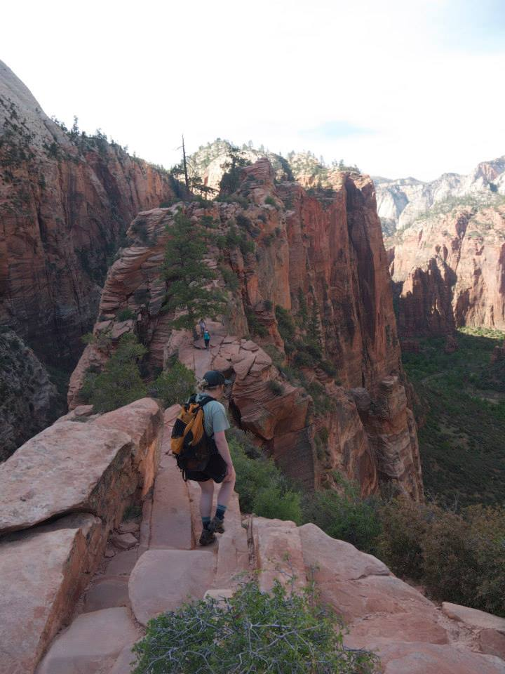 Monika hiking in Zion National Park on a road trip with friends from Colorado. Photo courtesy of Monika Fleming.